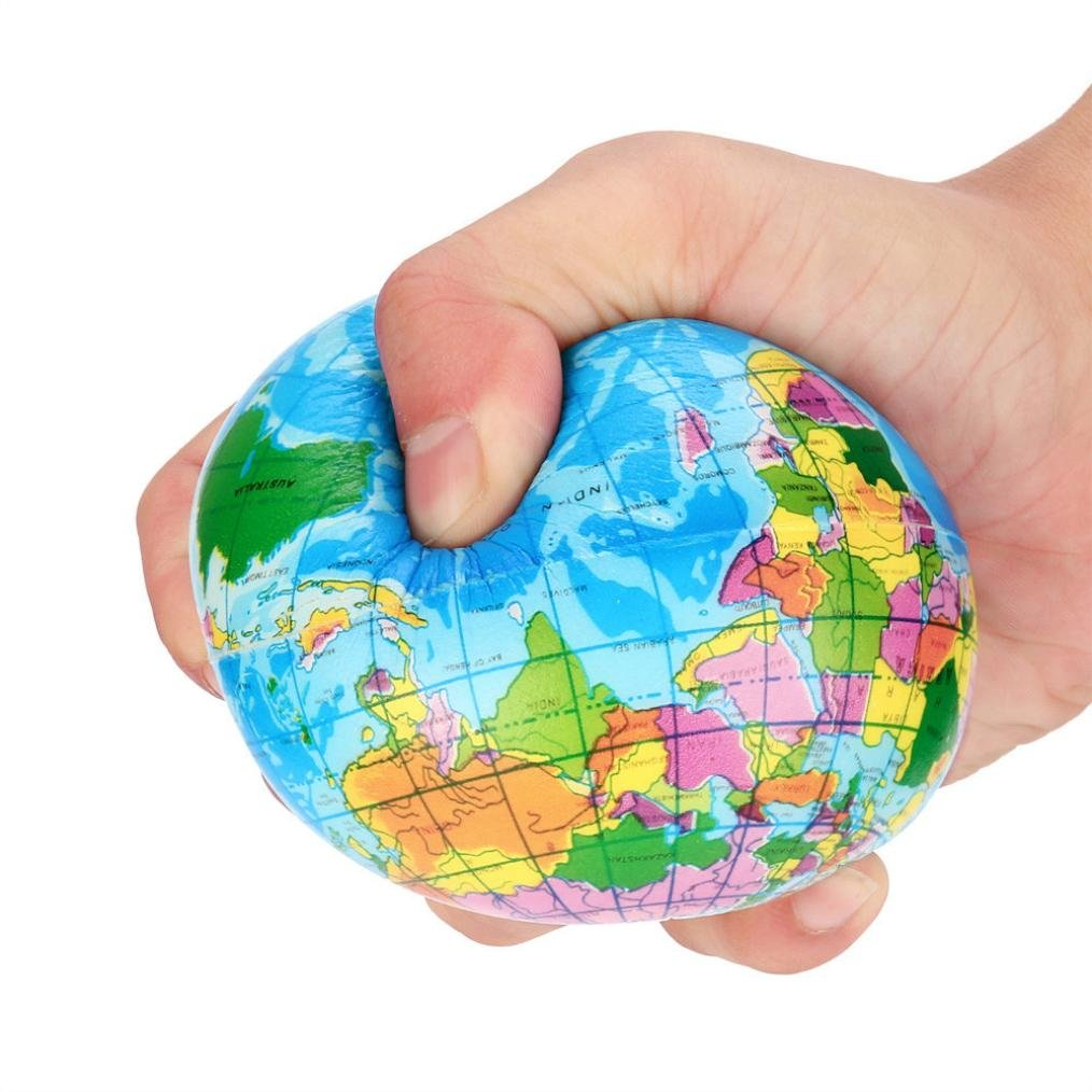 Gillberry New Stress Relief World Map Foam Ball Earth Ball Stress Reliever Toy For Women, Men, Kids (B)
