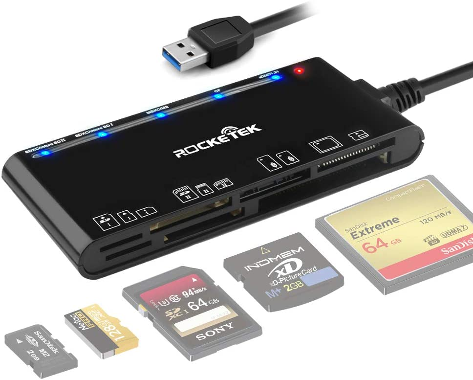 Card Reader USB 3.0, Rocketek 7 in 1 Memory Card Reader, USB 3.0 (5Gps) High Speed CF/SD/TF/XD/MS/Micro SD Card Solt All in one Card Reader for Windows XP/Vista/Mac OS/Linux,etc