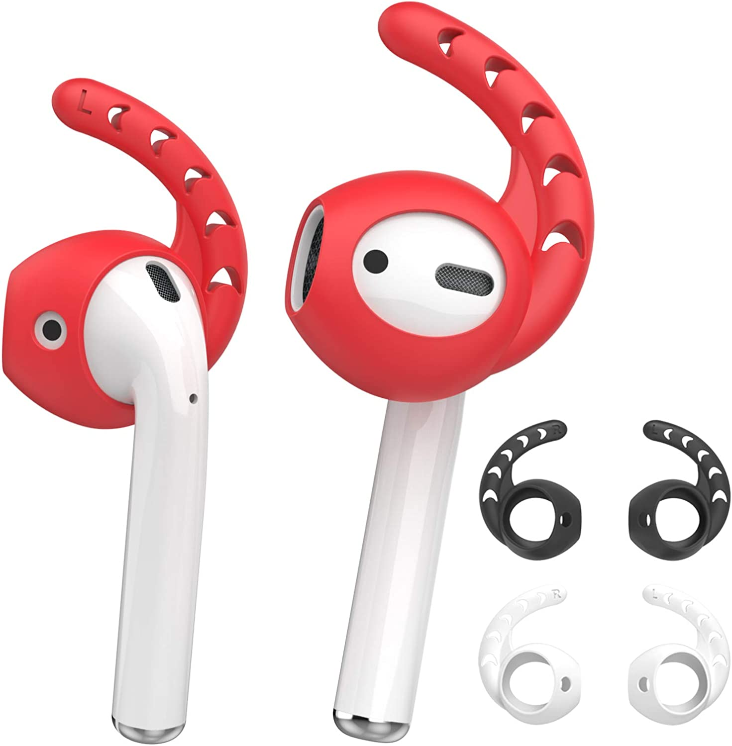 AhaStyle 3 Pairs Mixed Color AirPods Ear Hooks Silicone Accessories [ Added Storage Pouch] Compatible with AirPods/AirPods 2 or EarPods Headphones(Black,White,Red)