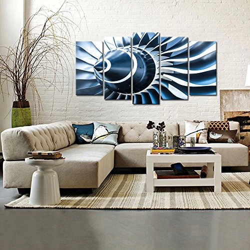 Kreative Arts – Canvas Prints Jet Engine Art Wall Decor 5 Panel Large Turbine Plane Propeller Pictures Print on Canvas Framed Ready to Hang for Office Decor Large Size 60x32inch