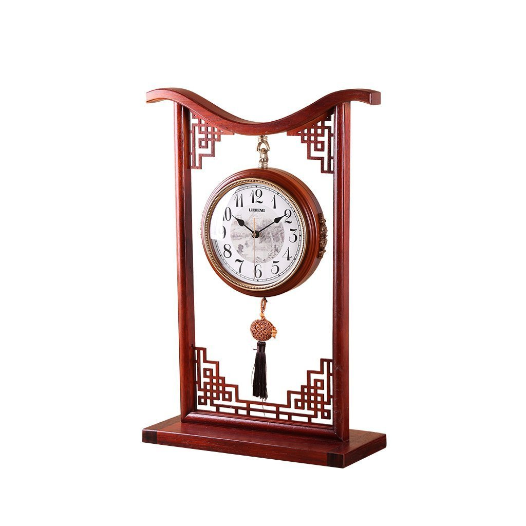 Health UK Clock- Clock Rotatable Solid Wood Hollow Engraving Antique Chinese Style Double-Sided Quartz Desktop Clock Mute Sitting Bell Welcome