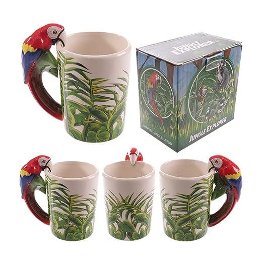 Taza de cerámica de la selva con mango en forma de regalos ...