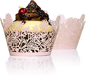 YOZATIA 60pcs Pink Rose Lace Cupcake Wrappers Holders, Laser Cut Cupcake Liners Decorative Liners for Wedding Party Birthday Cake Decoration Supplies