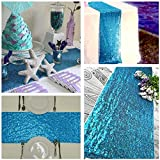 B-COOL Sequin Table Runners 12 by72 inch Valentines Day White Sparkly Table Linens