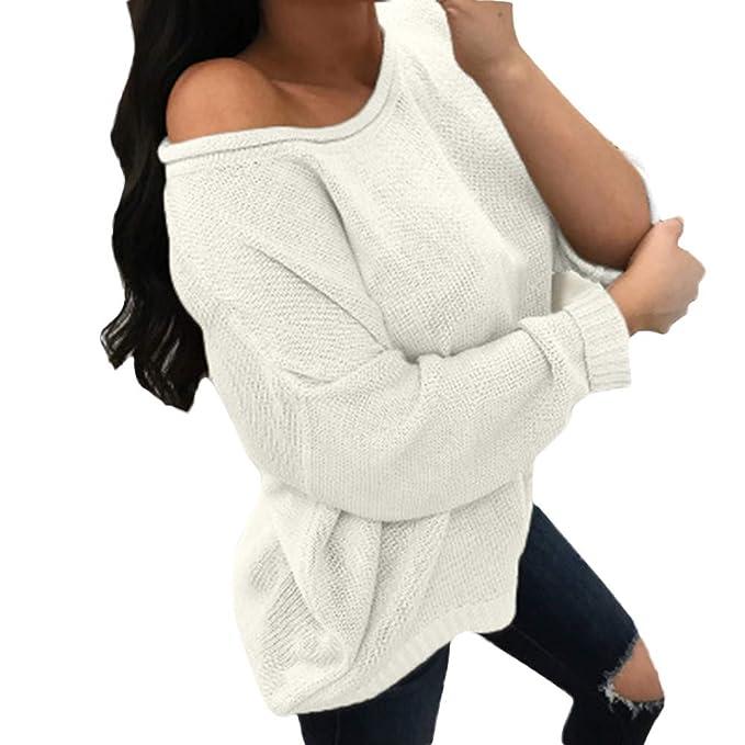 suéter Mujer,BBestseller Sweaters Jersey de Punto Casual de Manga Larga de casa Sólido Pullover