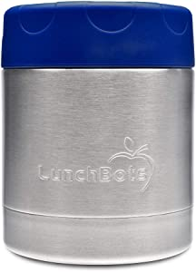 LunchBots Thermal 8 oz Triple Insulated Food Container - Hot 6 Hours or Cold 12 Hours - Leak Proof Thermos Soup Jar - All Stainless Interior - Navy
