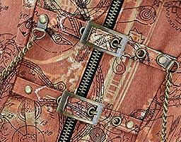 Killreal Women\'s Victorian Steampunk Steel Boned Overbust Corset Bustier Top Brown Large