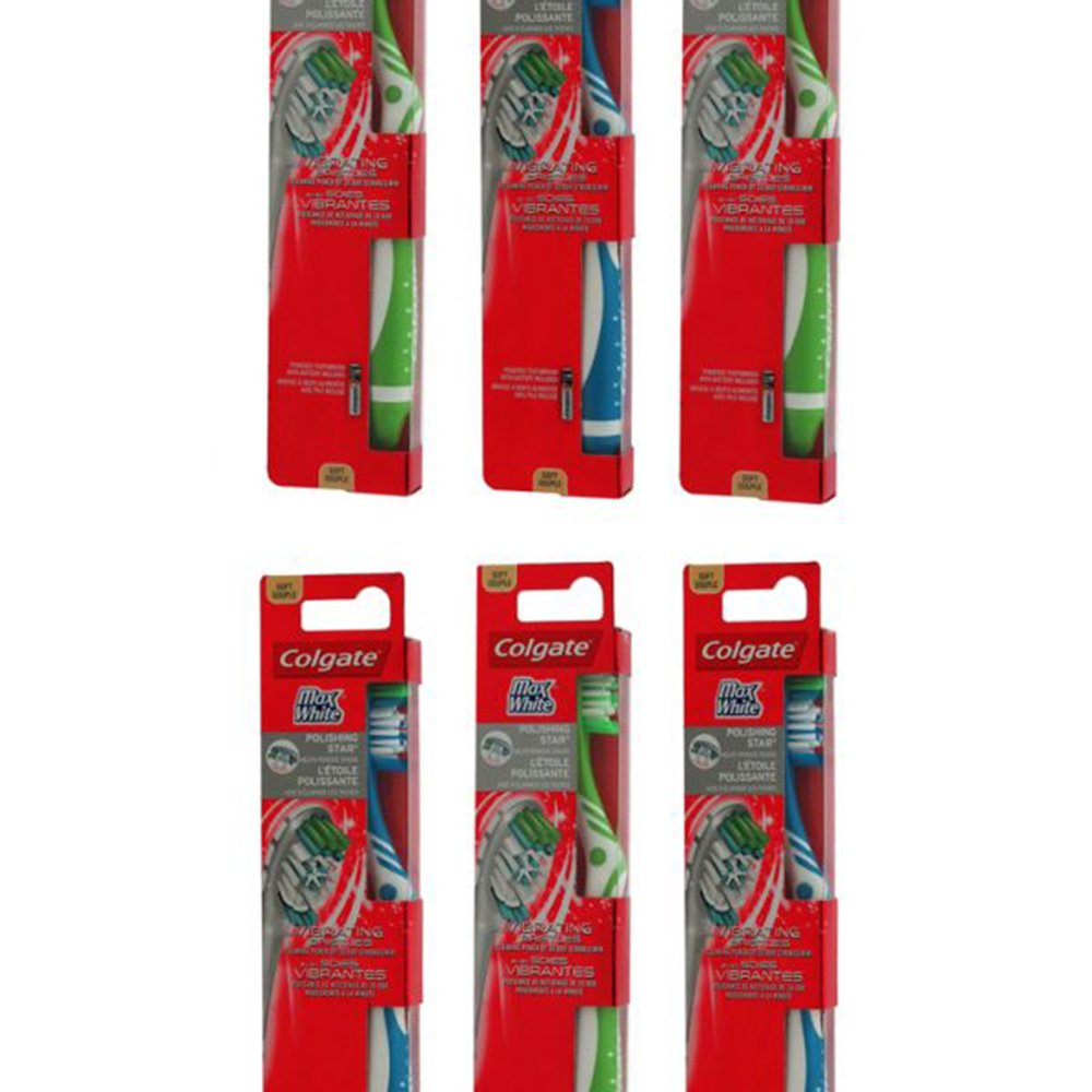 6 Colgate Toothbrushes With Vibrating Bristles -Soft (Assorted Colours) Colgate ®