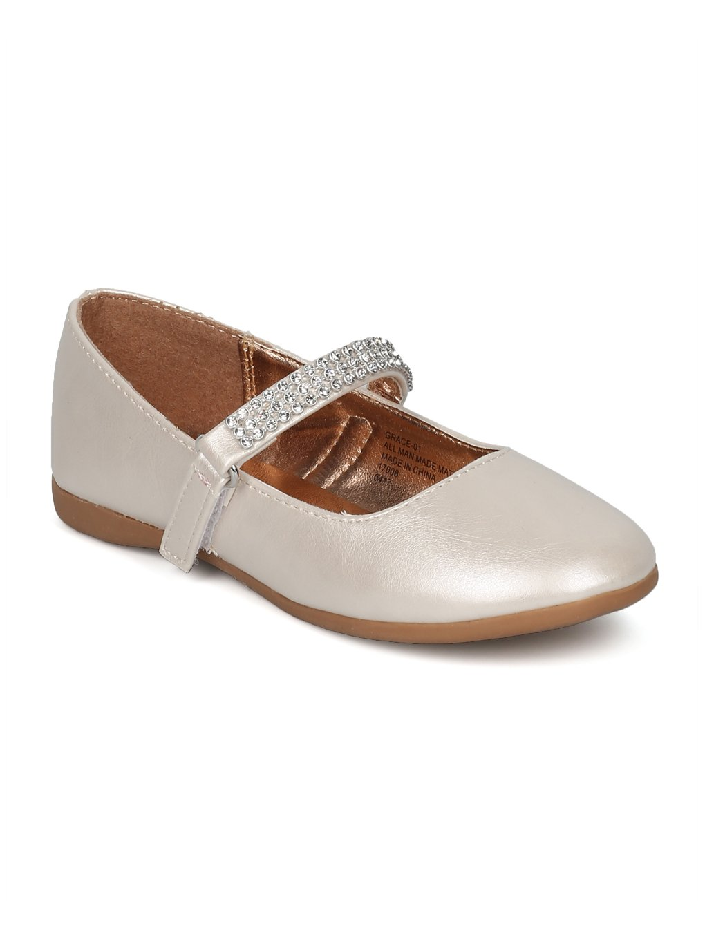 Indulge Grace-01 Girls Round Toe Rhinestone Mary Jane Ballet Flat HC74 - Ivory Leatherette (Size: Toddler 7)
