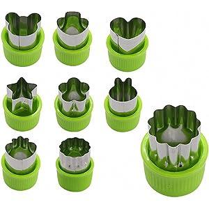 TOOGOO 9pzs Mini cortadores de galletas Cortador de fruta vegetal corteza de empanada juego con estrellas