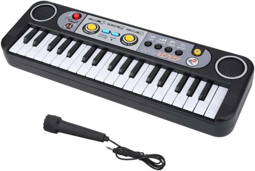 Pianoforte per bambini con organo elettronico multifunzione a 37 tasti con microfono adattatore per tastiera giocattolo didattico musicale