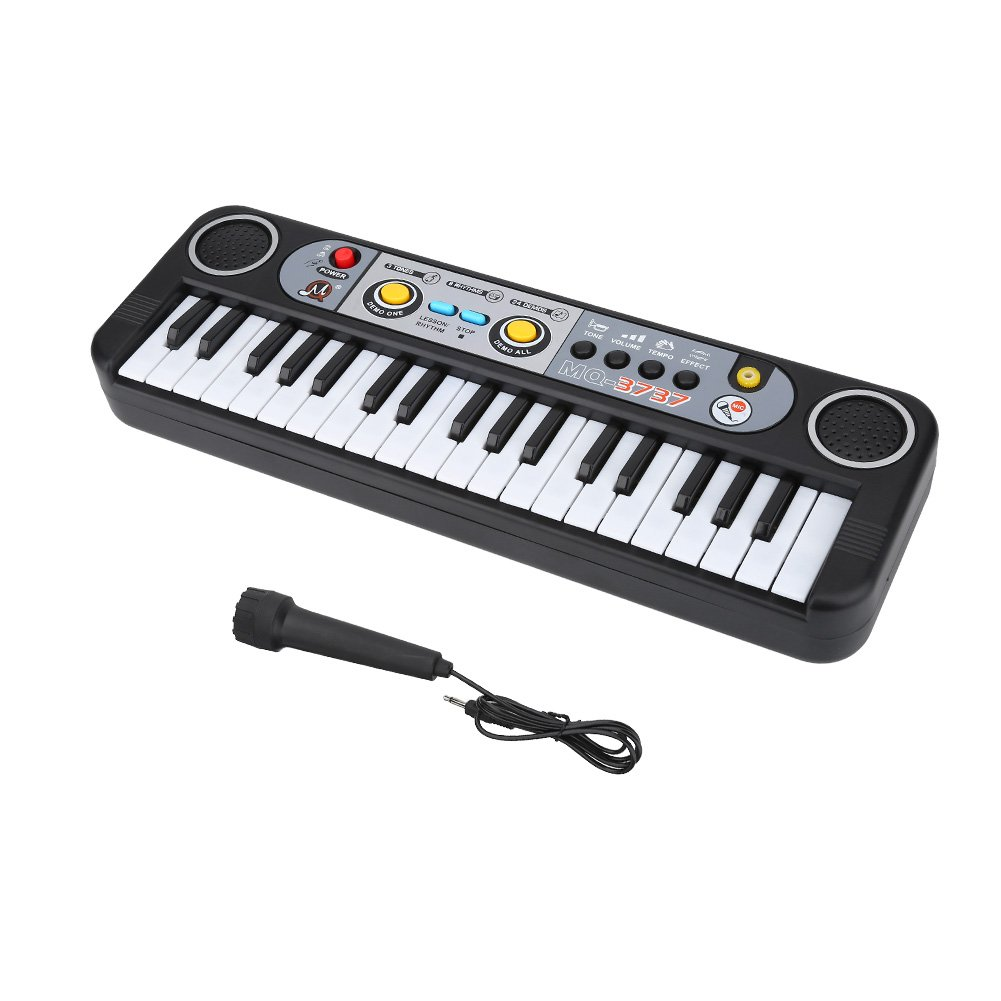 Digital Music Piano Keyboard, 37 Keys Multi-functional Electronic Keyboard with Microphone Perfect for Kids Piano Music Teaching Toys Birthday Christmas Day Gifts for Kids by Dilwe