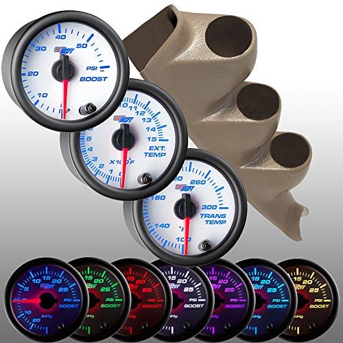 GlowShift Tan 00-06 Chevrolet Silverado Duramax & GMC Sierra Diesel Gauge Package + White 7 Color 60 Boost, 1500 EGT & Trans Temp Gauges