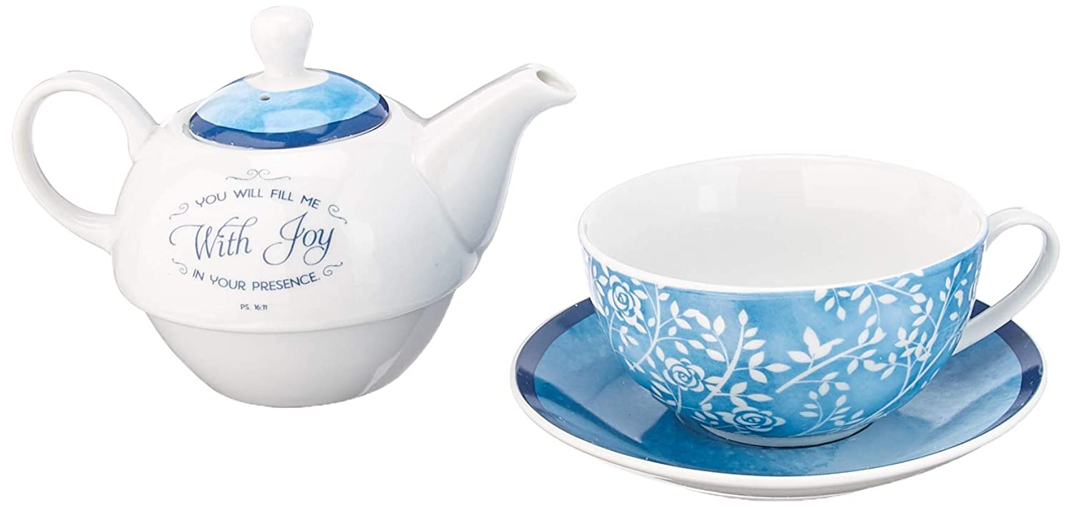 You Will Fill Me With Joy Tea-for-One Set - Psalm 16:11 Christian Art Gifts COMINHKPR90544