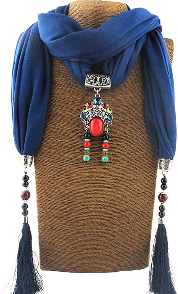 Nikgic. Bufanda Colgante con Flecos de Moda Collar de algodón Bufanda Babero Colgante de Estilo étnico para Mujer Accesorios de Vestir para Cualquier Temporada.Verde