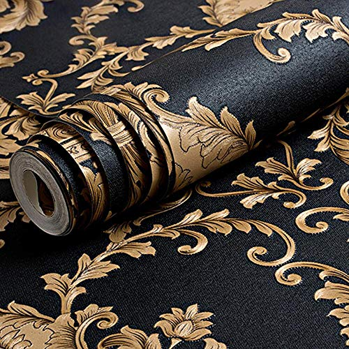 QIHANG European Luxury Classic Black Damask Stereo Deep Embossed Wallpaper Roll for Living Room Hotel Tv Backdrop 0.53m x 10m=5.3m2