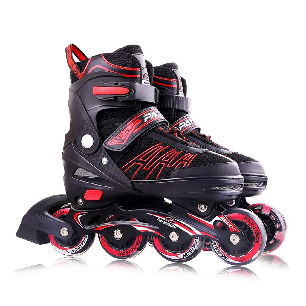 Male and Women Recreational Inline Skates,Child Beginner Teen Outdoor Inline Roller Skates Performance Racing Skates Gift to Ladies Youth and Men Teen Black (Color : A, Size : S-EU (27-32))