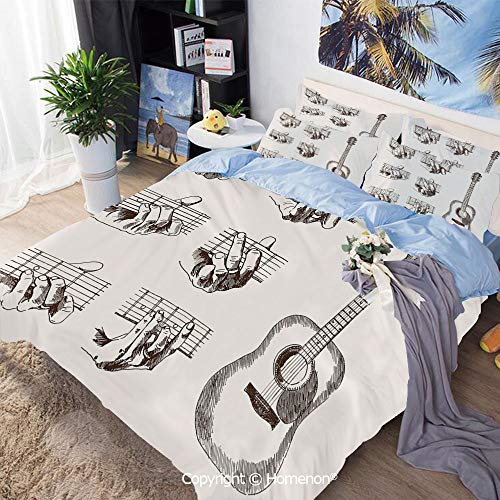 Bedding Sheets Set 3-Piece Bed Set,Sketch Art Style Instrument and Chords Acoustic Flamenco Technique Skill Talent Decorative,King Size,Include 1 Quilt Cover+2 Pillow case,Cream Brown