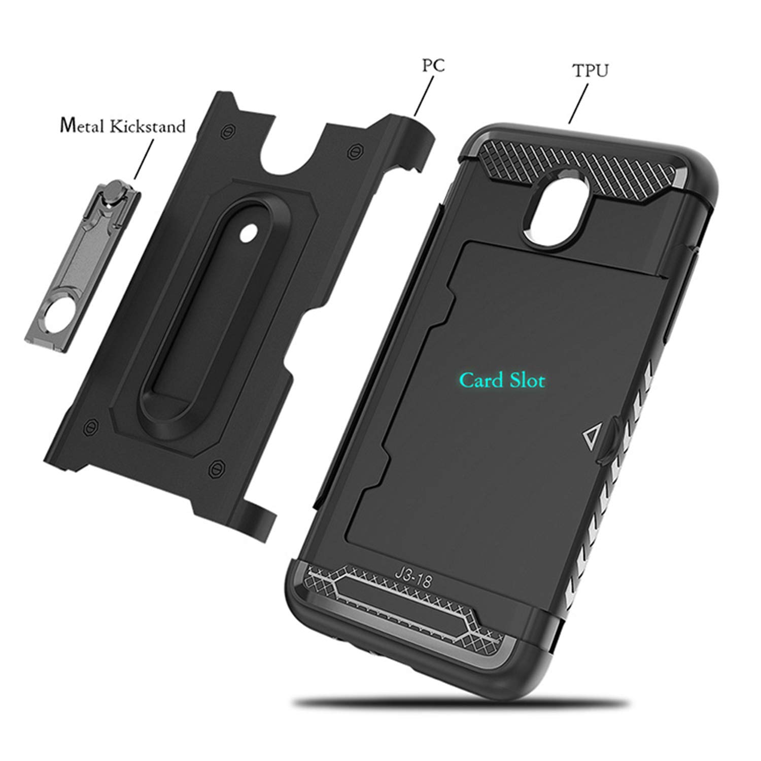 Card Slot Metal Stand Kickstand Dual Layer Shock Protective with Rugged Hard Shell Skin Soft TPU Rubber Hybrid Tough Bumper Armor Case for J3 2018-black DAMONDY J3 Star,J3 2018 Case,J3 Achieve