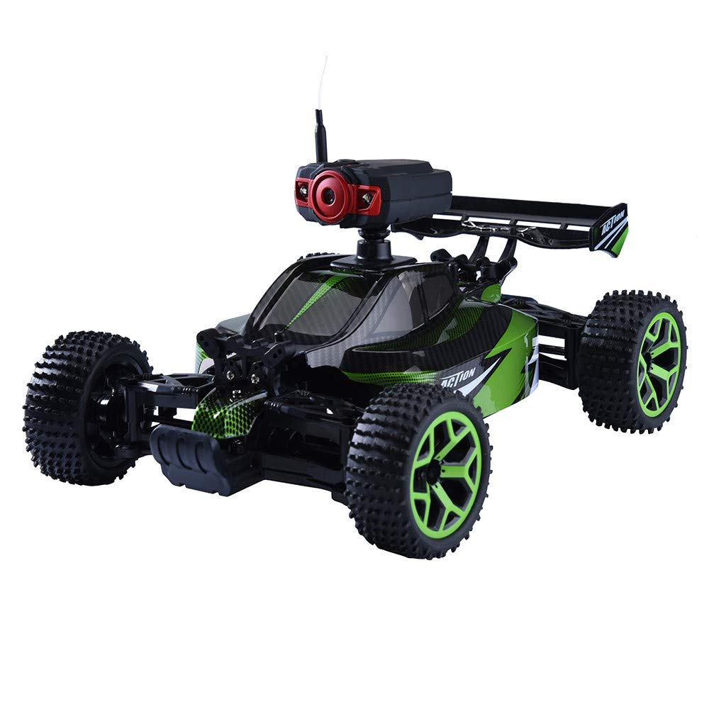 Sttech1 RC Car with 0.3MP Camera, 1/18 High Speed Off Road Truck Vehicle Four-Drive Buggy Racing Cars (Green)