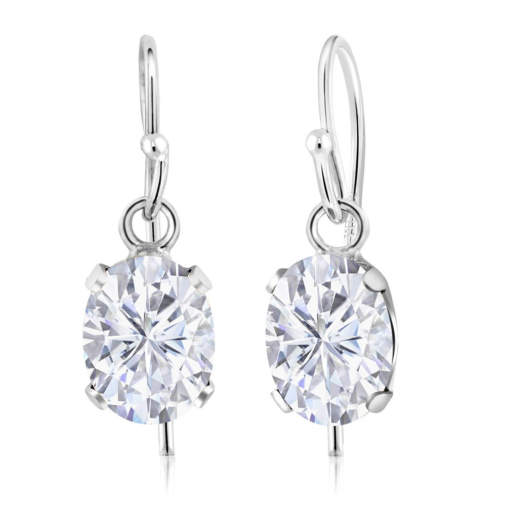 1.68 Ct Oval White Created Moissanite 925 Sterling Silver Earrings