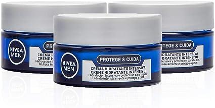 NIVEA MEN Protege & Cuida Crema Hidratante Intensiva en pack de 3 ...