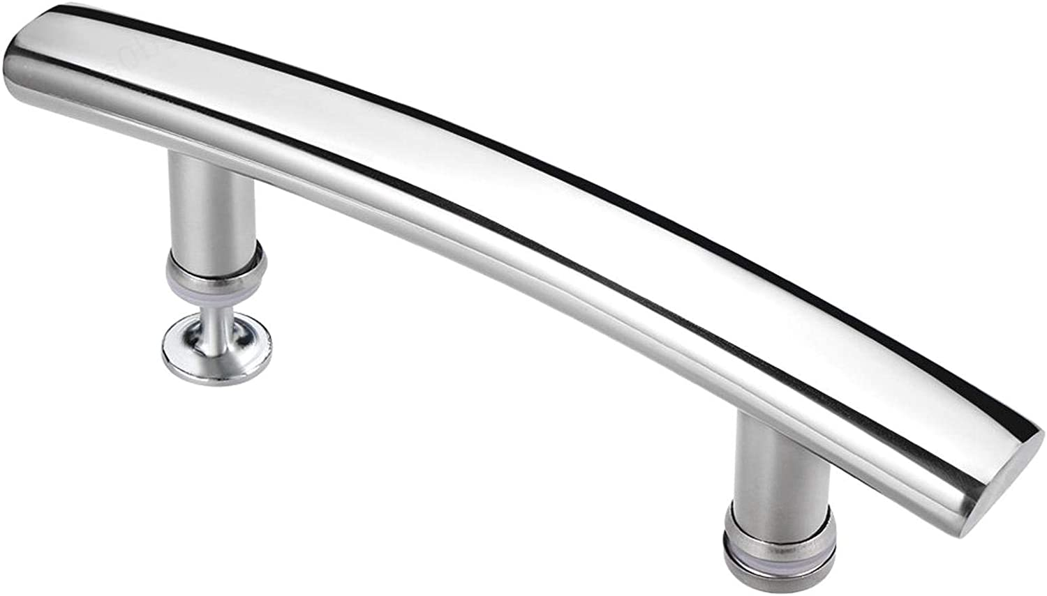 DeoMeat Arc Shower Door Handle Polished Center 304 Stainless Steel 145mm Hole