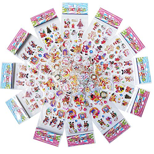 Adam Victor Merry Christmas Holiday Creative 3D Puffy Sticker Assortment, 120+ Stickers - Best Gift for Kids! Santa, Snowman, Reindeer, Tree, Ornaments, Snow Flakes and More! (12 Sheets) ()