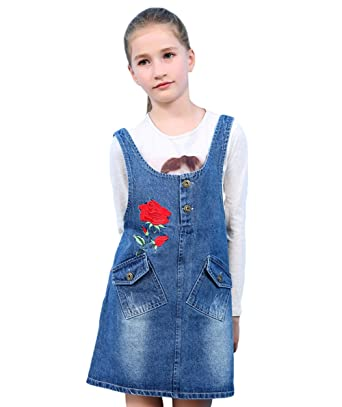 e820fc508 Tortor 1Bacha Kid Girls' Rose Flower Embroidered Denim Jumper Dress Blue ...