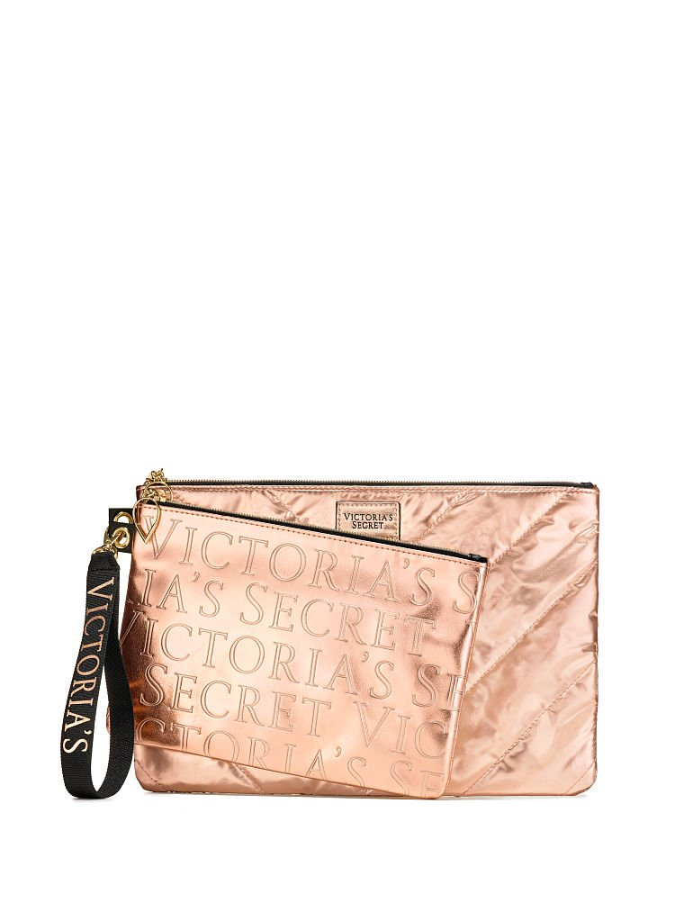Victoria's Secret Rose Gold Cosmetic Bag & Clutch 2 Pc Set