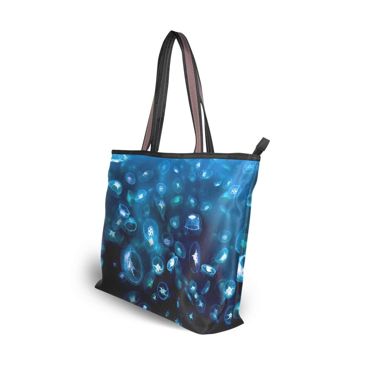 Women Moon Jellyfish Aurelia Large Tote Bag Shoulder Bag Lightweight For Gym Hiking Picnic Travel Beach Waterproof Handbag