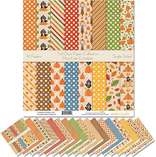 Miss Kate Cuttables パターンペーパーパック - スクラップブック プレミアムスペシャルティペーパー 片面 12インチx12インチ コレクション 16枚入り