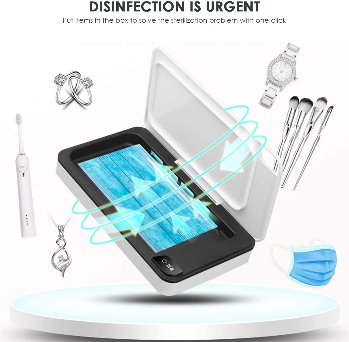 DERCLIVE Sterilizzatore Uv Usb Scatola per Disinfezione Cellulare a Luce Ultravioletta con Funzione Aromaterapia Bianco