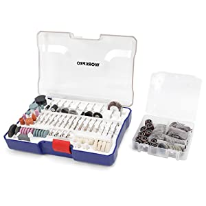 WORKPRO Rotary Tool Accessories Kit, 295-piece in Compact Case, 1/8-inch Diameter Shanks, with 4pc Collet, Universal for Major Brands