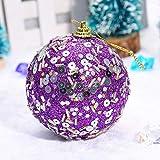 Longay Christmas Rhinestone Glitter Baubles Balls Xmas Tree Ornament Decoration 8CM (Purple)