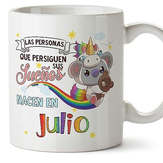MUGFFINS Taza de Cumpleaños Koala mes de Julio - Regalos Desayuno Feliz Cumpleaños/Aniversario. Cerámica 350 mL