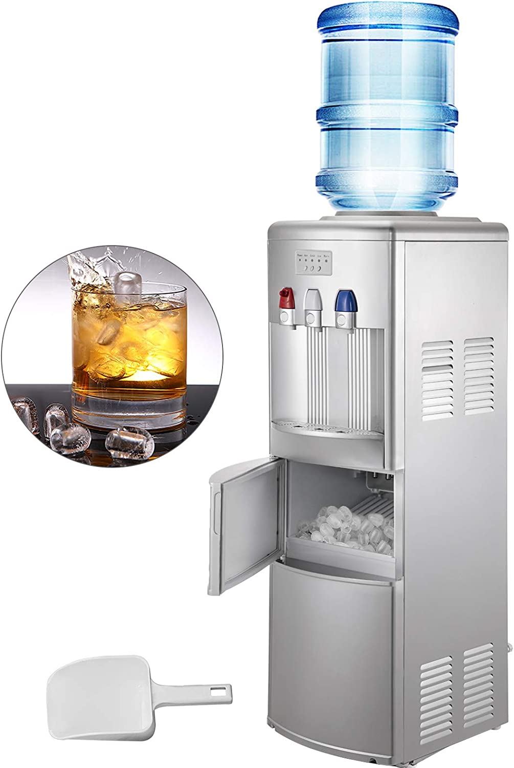 VBENLEM 2 in 1Water Cooler Dispenser with Built in Ice Maker Machine Silver Hot and Cold Top Loading 3 to 5 Gallon Bottle Electric Hot Cold Water Cooler Dispenser Machine with Ice Scoop