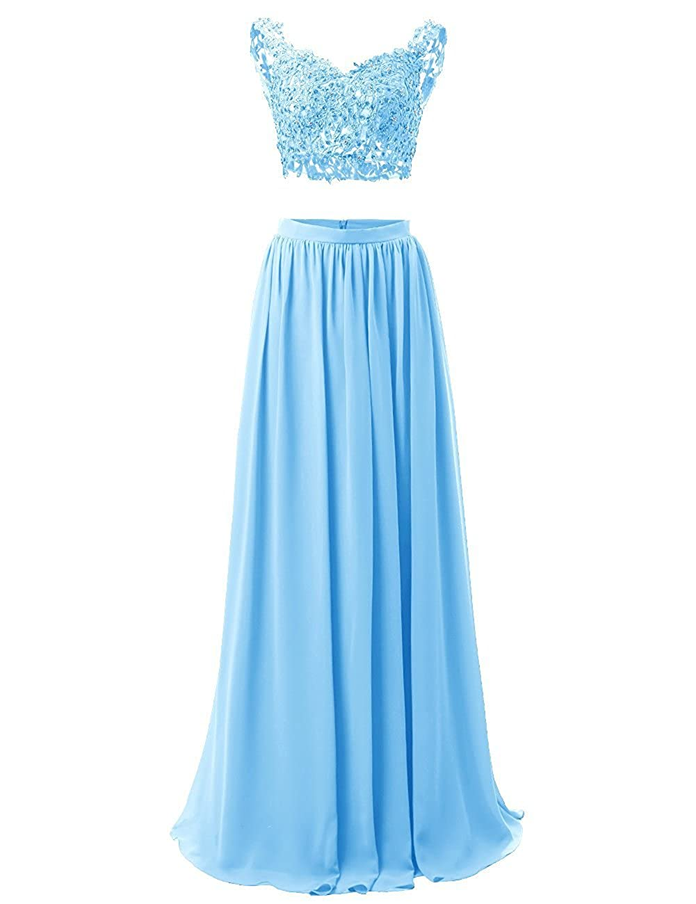 bluee M Bridal Women's Sequines Appliques 2 Piece VNeck Long Prom Homecoming Dress
