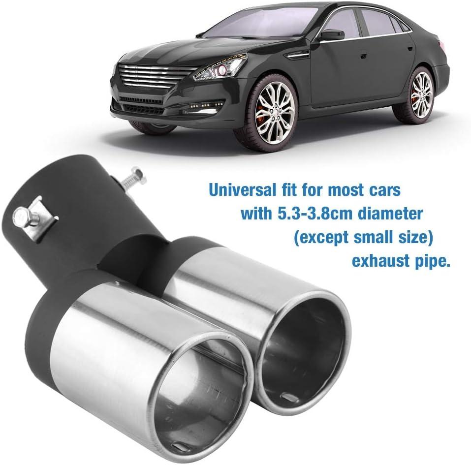embouts d/échappement doubles incurv/és de voiture universels embout de silencieux arri/ère de voiture en acier inoxydable pour tuyau d/échappement incurv/é de 5.3-3.8cm Tuyau d/échappement de voiture