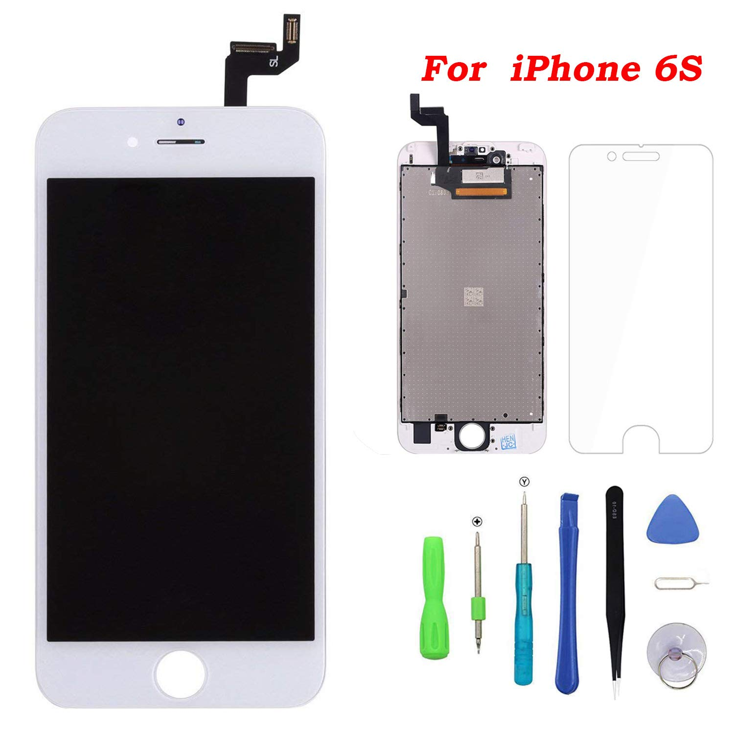 Screen Replacement for iPhone 6s White Touch Screen Digitizer LCD Display Replacement Full Assembly with Repair Tool Kit (6s.White) by YOXINTA