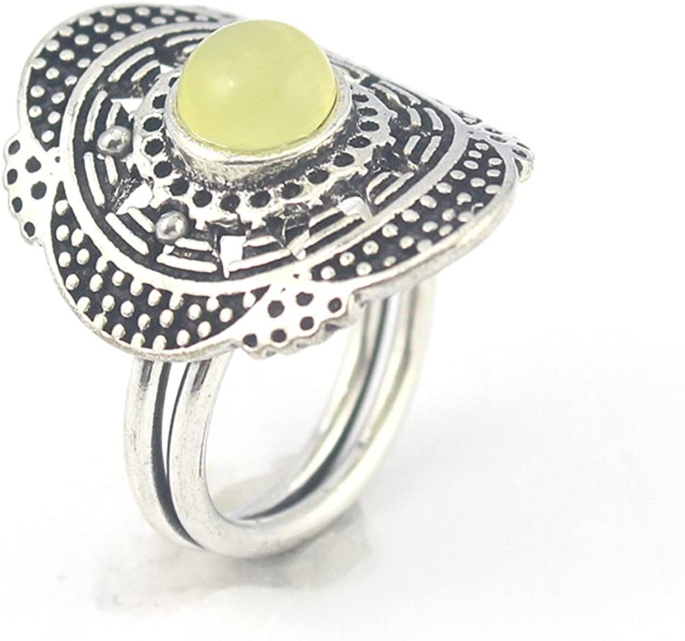 silverjewelgems Yellow Chalcedony Fashion Jewelry .925 Silver Plated Ring 9 S23928