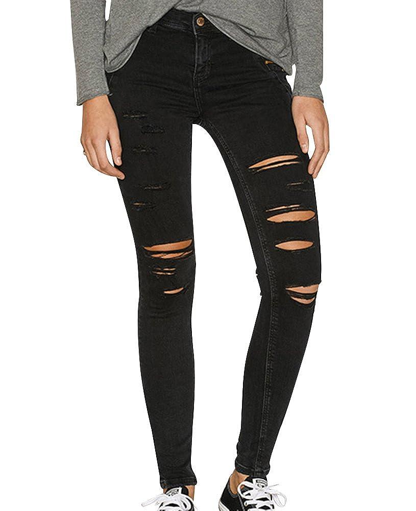 Damen Skinny Hose Jeans Strecken Ripped Loch Lässige Jeanshose