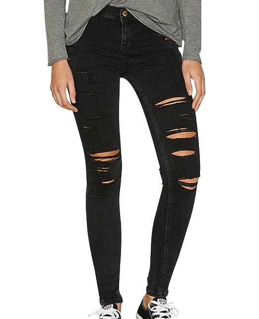 vollständig in den Spezifikationen Mode Genieße am niedrigsten Preis Gladiolus Damen Skinny Hose Jeans Strecken Ripped Loch Lässige Jeanshose