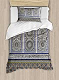 Ambesonne Arabian Duvet Cover Set Twin Size, Nostalgic Moroccan Architecture Stone Carving and Motifs Majestic Ottoman Empire, Decorative 2 Piece Bedding Set with 1 Pillow Sham, Multicolor