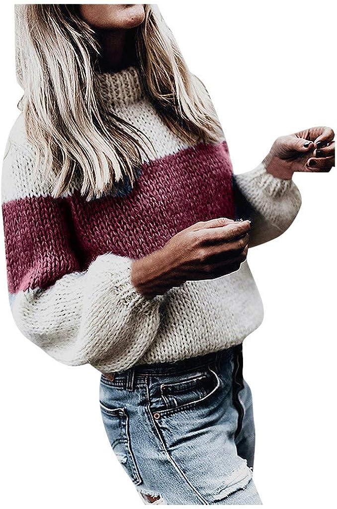 Donna Maglione Collo Alto Vintage Elegante Invernale Ragazza Giuntura Maglieria Manica Lunga Sciolto ITISME Knit Sweater