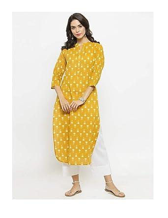 2c18867680b Amazon.com  Hiral Designer mall Indian Womens Kurta Kurti Printed Mustard  Yellow Cotton Clothing Dress + Leggings (L)  Clothing
