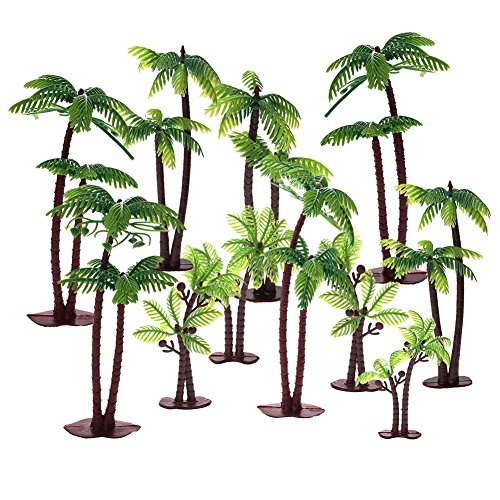 - Uspeedy 18 Pieces Palm Tree with Coconuts Cake Topper Coconuts Tree Cupcake Topper for Cake Decorations or Building Model Landscape (6 Pcs/3 Size)