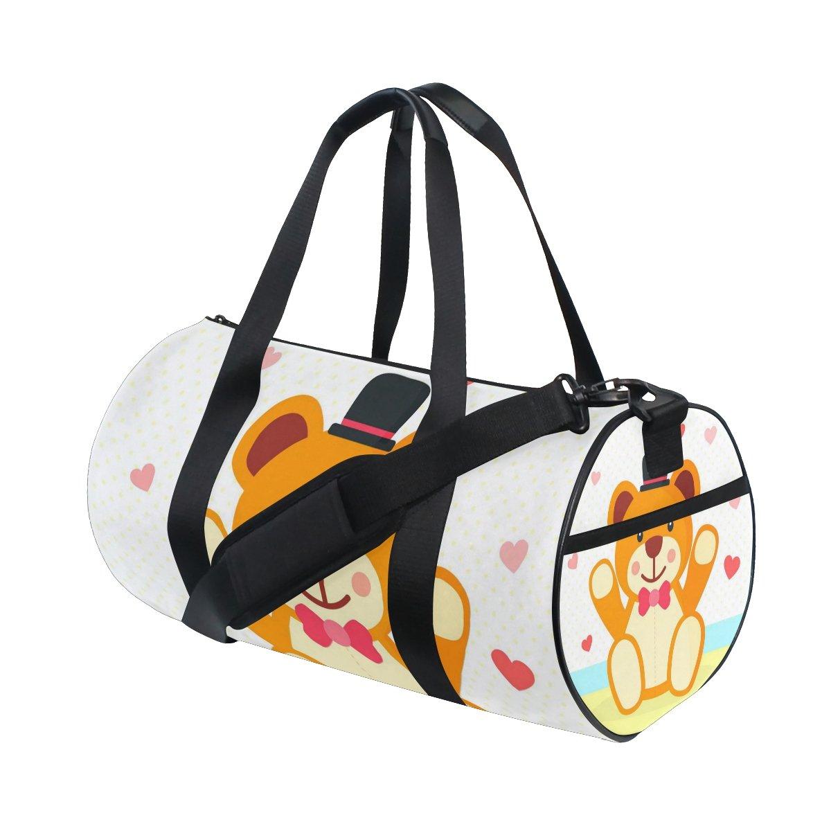 Anime Cartoon Cute Teddy Bear Lightweight Canvas Sports Bag Travel Duffel Bags