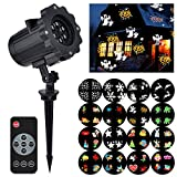Halloween Projector Light with Remote Control, Mtlee 16 Pieces Switchable Patterns Waterproof Moving Rotating Projector Led Lights for Wall Decoration, Christmas, Birthday Party