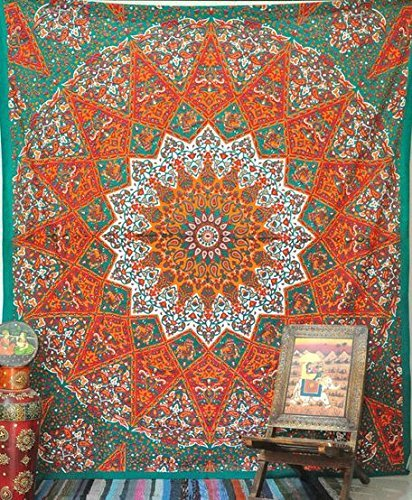 Indian-hippie Bohemian-psychedelic Star-mandala Wall-hanging-tapestry (Queen(84x90Inches)(215x230Cms), Orange)